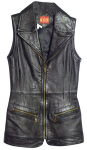 Don't Stop Genuine Leather Zipper Accents Lined Vest