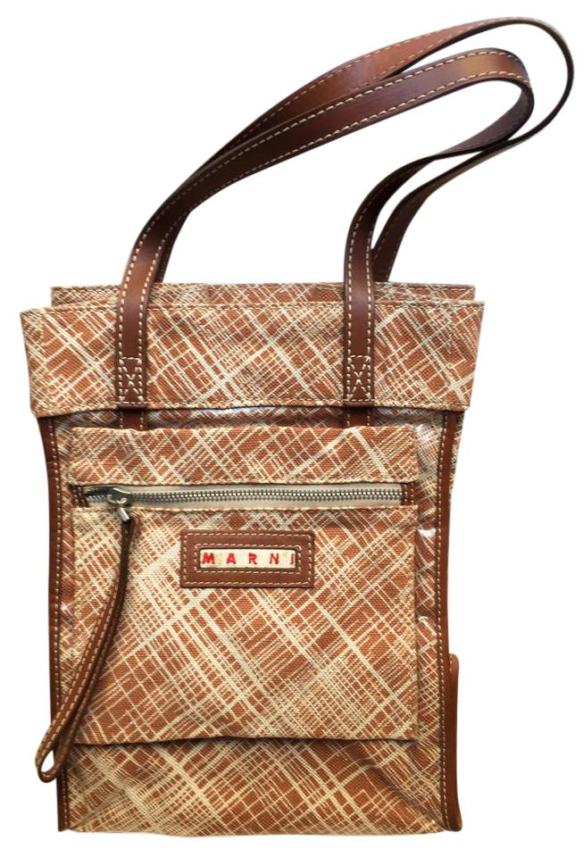 70a2fd3841 Marni Crosshatch Brown Coated Canvas   Leather Tote - Tradesy