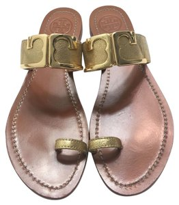 Tory Burch Marcia Metallic Leather Gold Sandals