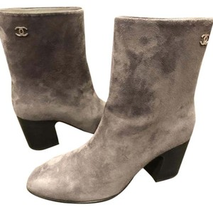 Chanel Cc Suede Navy Grey Boots