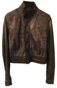 Duarte Leather Suede Gold gold and black Leather Jacket