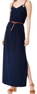 Navy Blue with brown leather straps and belt. Maxi Dress by Michael Kors