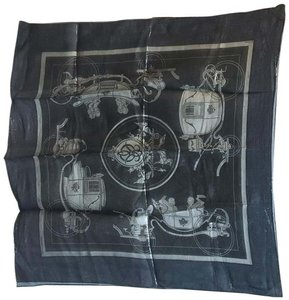 Hermès Hermes Navy Blue Silk Shimmery Sheer Lurex Small Scarf Handkercheif