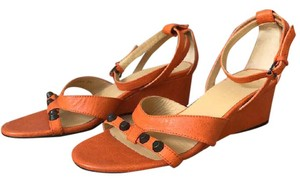 Balenciaga Leather Studs Orange Wedges
