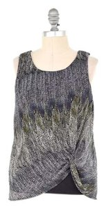 Anthropologie Chiffon Overlay Feather Print Top Purple