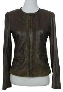 Elie Tahari Leather Suede Soft Lined Moto Brown Leather Jacket