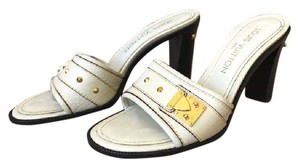 Louis Vuitton Leather Suhali Ivory Sandals
