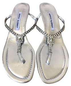 Manolo Blahnik Leather Silver Sandals
