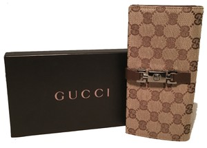 Gucci Gucci Monogram Canvas and Brown Leather Wallet