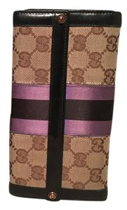 Gucci Gucci Monogram Black and Purple Leather and Satin Wallet