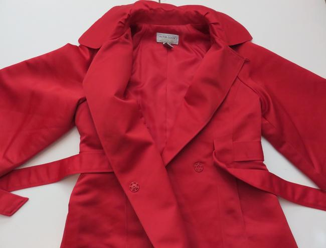 Victor Costa Satin Lined Jacket Size Xs Red Blazer