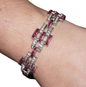 Vintage Vintage Art Deco Channel Set Ruby Rhinestone Link Bracelet Rhodium Plated
