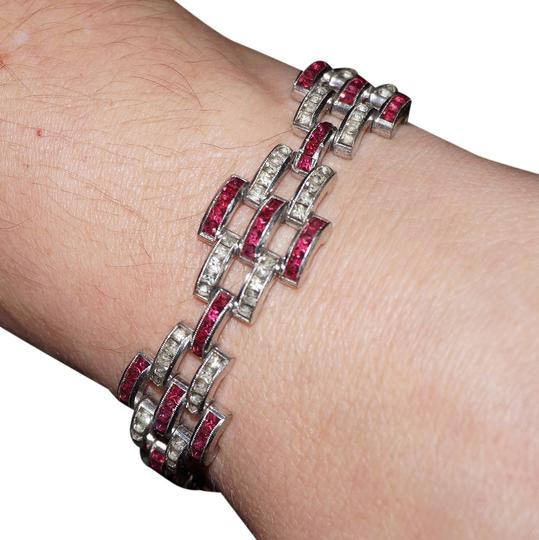 Preload https://item5.tradesy.com/images/red-and-white-deco-channel-set-ruby-rhinestone-link-rhodium-plated-bracelet-2051904-0-0.jpg?width=440&height=440