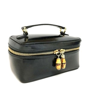 Gucci Black / Gold Leather Cosmetics Vanity Makeup Travel Bag Italy