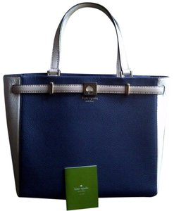 Kate Spade Very Stylish Leather Satchel in Navy Blue/Ivory