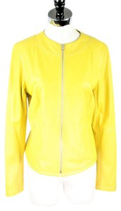 Elie Tahari Leather Yellow Leather Jacket