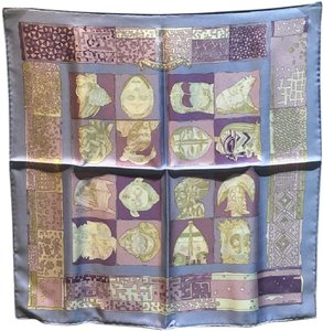 Hermès Hermes Purple Personas Silk Pocket Square Scarf Handkercheif