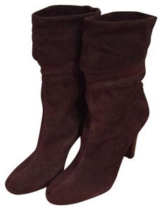 Nine West Suede Brown Midcalf Suede Leather Brown Leather Boots
