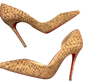 Christian Louboutin Heels Iriza D'orsay Cork Beige/Gold Pumps