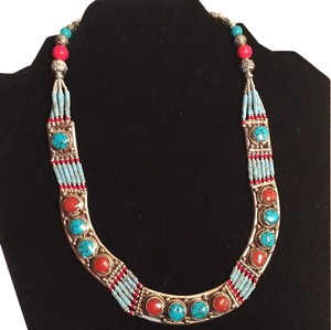 TURQUOISE & RED CORAL .925 STERLING NECKLACE