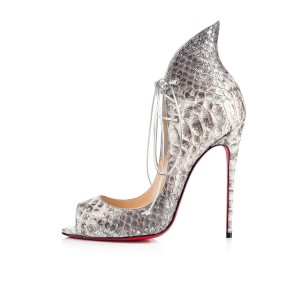 Christian Louboutin Heels Python Megavamp Lace Up Silver Pumps