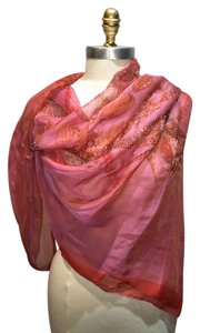 Hermès Hermes Sheer Pink and Red Rocaille Silk Shawl Scarf