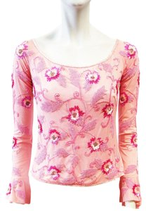 Escada New Long Sleeve Floral Top Pink