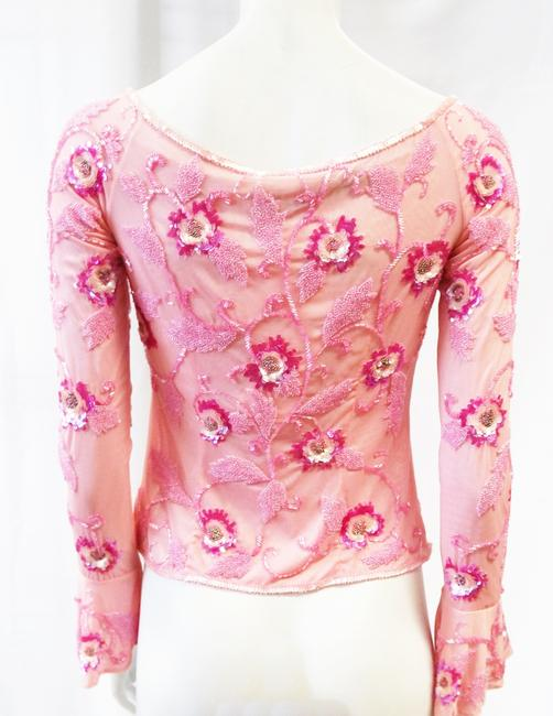 Escada New Long Sleeve Floral Beaded Embroidered Top Pink