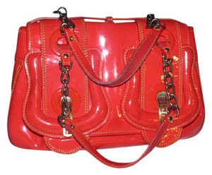 Fendi B Buckle 2 Xl Buckle Accents Straps Mint Vintage Rare All Color Satchel in red patent and smooth leather
