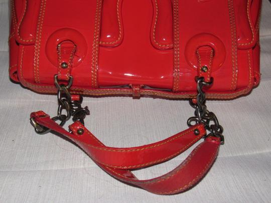 Fendi B Buckle 2 Xl Buckle Accents Chain/Leather Straps Mint Vintage Rare All Color Satchel in red patent and smooth leather