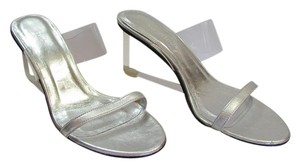 Ramon Tenza Size 8.00 M Acrylic Heels Leather Sole Very Good Condition Silver, Clear Sandals