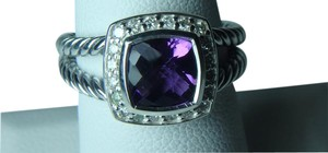 David Yurman size 6 New With Pouch Albion Petite Ring Amethyst With Pave Diamonds