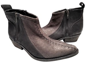 Free People Run Big Western Inspired Washed Leather Ankle Snakeskin Textured Smoke and Black Boots