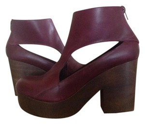 Free People Ankle Boot Leather Wine Mules