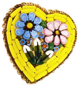 Murano YELLOW MICRO MOSAIC ITALY FLORAL HEART GOLDTONE BROOCH 1