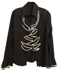 Anne Fontaine Button Down Shirt Black and white