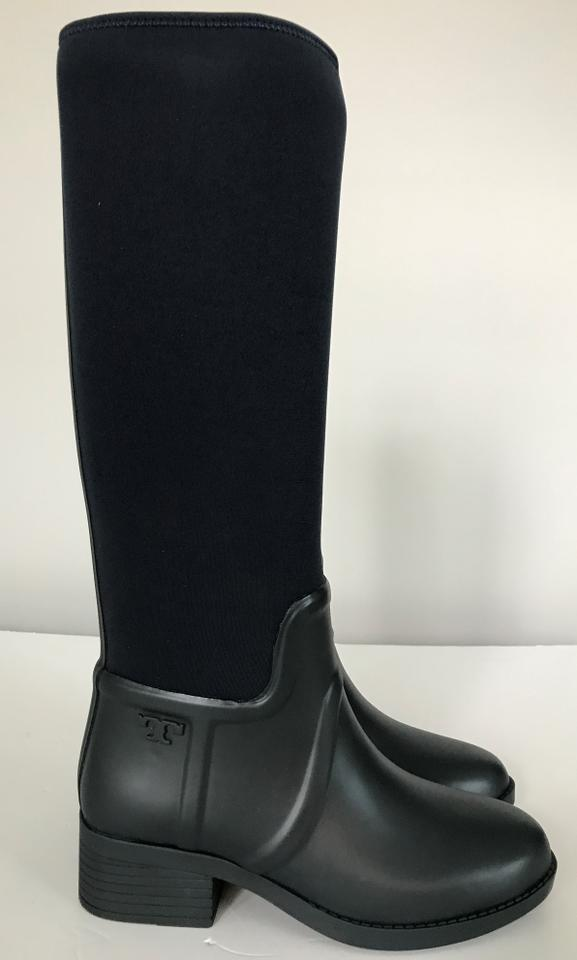 8e37ee7090c5 Tory Burch Navy April Tall Rubber Rain Boots Booties Size US 7 ...