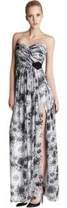 Monique Lhuillier Gown Silk Slit Floral Strapless Dress