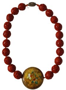 Vintage Silver Antique Carved Cinnabar Bead Lacquer Cloisonne Necklace Pendant