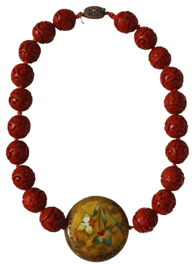 Other Vintage Silver Antique Carved Cinnabar Bead Lacquer Cloisonne Necklace Pendant