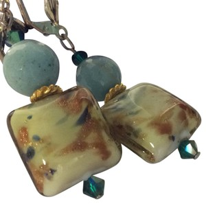 Murano glass pierced earrings beautiful specks of gold in this artist glass earrings SS hooks