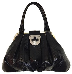 Alexander McQueen Embossed Limited Edition Patent Leather Rare Couture Satchel in Black
