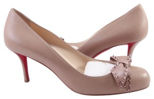 Christian Louboutin Ballalarina Spike Bow 70mm Nude Pumps