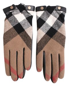 Burberry BRAND NEW Leather and Cashmere Check Gloves Size 8