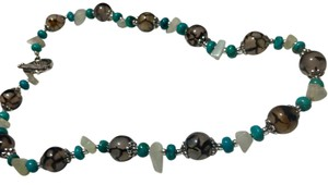 Other New Dragon's Vein Agate Turquoise Stone Necklace J3089