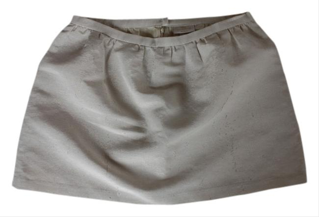 Erin Fetherston Party Structured Mini Skirt Ivory + Gold
