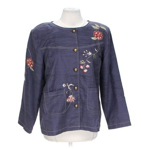 Dress Barn Embroidered Floral Denim Jean Dark Indigo Blue Womens Jean Jacket