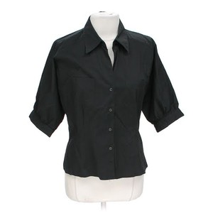 Ellen Tracy Button-up Fitted Stretchy Button Down Shirt Black
