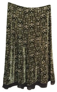 Ann Taylor Velvet Paisley Print Pull-on Lined Skirt Green/Brown