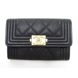 Chanel Chanel Boy Mini Card Holder Caviar Black with Matte gold hardware
